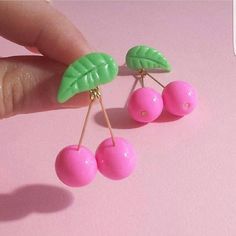 Kawaii Food Jewelry Pink Accessories Pinup Jewelry by FatallyFeminine Funky Earrings, Tiny Stud Earrings, Simple Earrings, Diy Earrings, Earrings Handmade, Kawaii Jewelry, Cute Jewelry, Cherry Earrings, Bijoux Diy