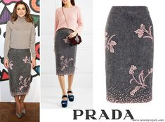 PRADA Embellished mohair-blend pencil skirt