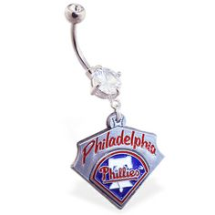 Belly Ring with offical licensed MLB charm, Philadelphia Phillie
