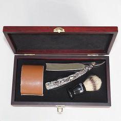 New Shave Kit Knife Men Straight Razor Shaving Brush and leather Strop Gift #01