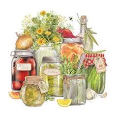 Canning illustration (not Susan Branch) Canning Jars, Mason Jars, Welcome Home Blog, Branch Art, Recipe Scrapbook, Mary Engelbreit, Pots, Betty Crocker, Kitchen Art