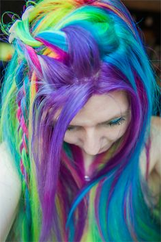 #rainbow #dyed #hair #pretty #scene