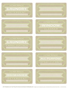 DIY homemade clean free label printables and recipes