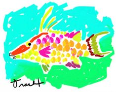 Colorful Fish Print 11x14 by Kelly Tracht Preppy Art Beach House Art Fish Painting Fish Poster Yellow Pink Fish Aqua Art #9A