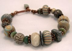 Polymer Clay, Copper, Gemstones Bracelet by Doreen and stuff, via Flickr