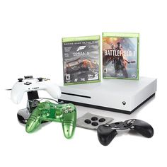"""Microsoft Xbox One S 4K Ultra HD 500GB White Console with """"Battlefield 1"""" Voucher, """"Forza 5"""" Game Disc, Liquid Mini Controller and Accessories"""