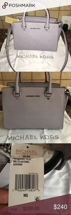 Michael Kors medium Selma Brand new with tag authentic Michael Kors Selma, dust bag included. Beautiful lavender color! Ⓜ️205! Michael Kors Bags Crossbody Bags
