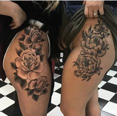 Rose tattoo on side hips thighs - by @ChristianBuckingham