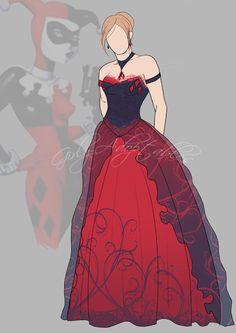 Description A Harley Quinn (from DC Comics, Batman) inspired evening gown. Two bangles represent Harley Quinn favorite colors, as well as the diamond-sh. Joker Und Harley Quinn, Harley Quinn Cosplay, Plus Size Wedding Gowns, Blue Wedding Dresses, Party Dresses, Harley Costume, Ivy Fashion, Wedding Dress Sketches, Batman Wedding