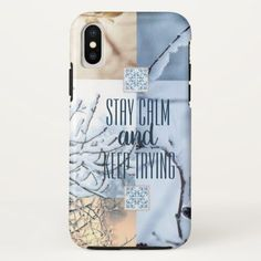 Stay Calm and Keep Trying with Winter frost Images iPhone X Case - winter gifts style special unique gift ideas