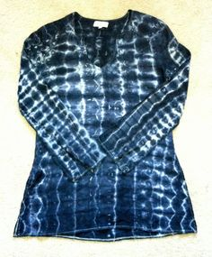 100% Linen Small Shibori Hand-Dyed Tunic Style top, Upcycled, Grey and White tie-dye OOAK