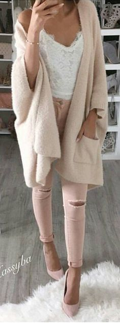 #winter #fashion /  Light Wool Cardigan / White Lace Top / Pink Skinny Jeans / Pink Heels