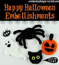 Whip up a couple of these cute embellishments to use as pins or decorations this Halloween! Great addition to your hats or other projects - all 4 are free patterns.