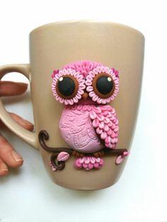 Owl polymer clay mug More