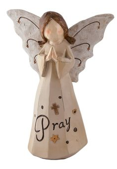 """[""""This inspirational word angel figurine shares her message with you: rn""""Pray."""" An adorable decoration at Christmas or all year round, this rnangel figure spreads her starry wings. Her dress hangs beautifully, rnwith the word """"Pray"""" printed on it in black. Figurine measures 4-1/4""""(W) x 6""""(H)""""] $9.99"""