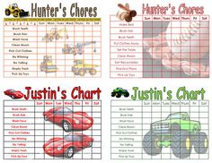 Childrens Chore Chart, You Choose the Chores, Boy Themes