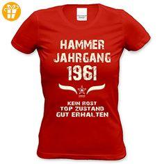 Damen Motiv T-Shirt :-: Geburtstagsgeschenk Geschenkidee für Frauen zum 56. Geburtstag :-: Hammer Jahrgang 1961 :-: Girlie kurzarm Shirt mit Geburtstags-Aufdruck :-: Farbe: rot Gr: XXL (*Partner-Link)