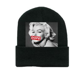 Dope Marilyn Beanie ($20) ❤ liked on Polyvore featuring accessories, hats, beanies, neveah daniles, beanie hats, beanie cap hat and beanie cap