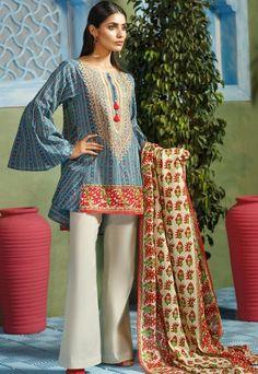 Short embroidered lawn eid kurti by Khaadi Pakistani Casual Wear, Pakistani Bridal Dresses, Pakistani Dress Design, Pakistani Outfits, Indian Dresses, Eid Dresses, Indian Clothes, Winter Dresses, Kurti Neck Designs