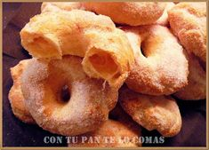 Rosquillas de aire Beignets, Flavored Ice Cubes, Mexican Food Recipes, Snack Recipes, Spanish Desserts, Buttered Corn, Sweet Dough, Peruvian Recipes, Pan Dulce