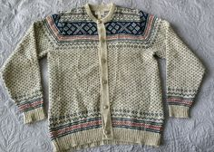 Cardigan Sweater Hilda wool LL Bean silver buttons Mens Large Mint navy tan ski  #LLBean #Cardigan