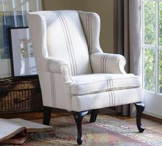 Pottery barn gramercy wingback chair in a small stripe like this for the corner of your living room. Modern Outdoor Furniture, Modern Chairs, My Living Room, Living Room Chairs, Furniture Upholstery, Home Furniture, Queen Anne Chair, Striped Room, Slipcovers For Chairs