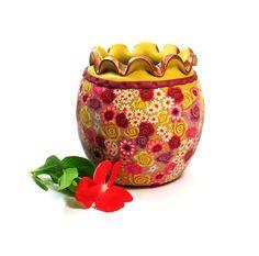 Big floral clay vase Polymeri vessel each one unique by sigalsart, $42.00