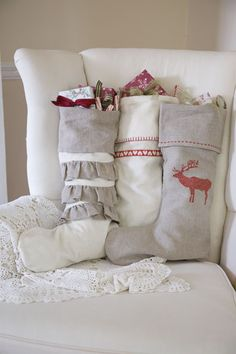 Linen stockings ~ I love the stockings from Garnet Hill because they remind me of something you'd find in a cozy ski chalet tucked away in the mountains. They are stylish and different—not a typical Christmas stocking. I love their uniqueness.