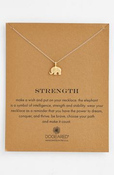 Free shipping and returns on Dogeared 'Reminder - Strength' Pendant Necklace at Nordstrom.com. A beautifully detailed elephant reminds us of our own strength and intelligence—wear this delicate pendant necklace (or give it as a gift) to represent your own power to dream and thrive.