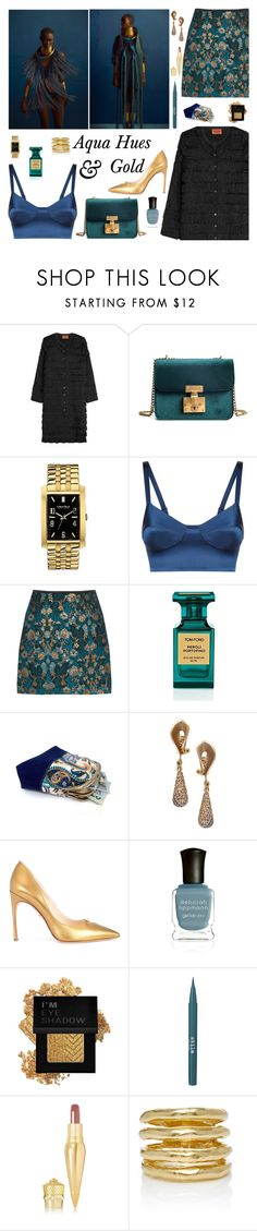 """Aqua Hues & Gold"" by therealmodishmiss ❤ liked on Polyvore featuring Missoni, Caravelle by Bulova, La Perla, Tom Ford, Alex Soldier, Kendall Miles, Deborah Lippmann, Forever 21, Stila and Christian Louboutin"