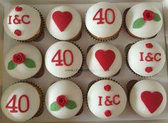 40th (Ruby) Wedding Anniversary Cupcakes