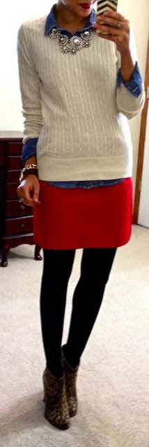 red skirt / black tights / chambray top / white sweater or vest / leopard heels