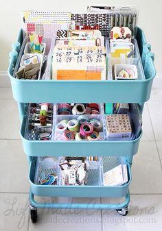 project life organization with RASKOG kitchen cart from IKEA Project Life Organization, Office Supply Organization, Storage Organization, Project Life Storage, Shop Storage, Office Storage, Raskog Ikea, Scrapbook Storage, Scrapbook Organization
