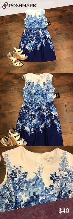 SALE❗️ Blue and White Dress Beautiful blue and white dress in size 10!! Soft and comfortable fabric that stretches!!! Pair with a pair of wedges for a springtime look to kill for or a pair of heels for work!! Sandra Darren  Dresses
