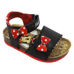 Toddler Girls' Minnie Mouse Footbed Sandals - Black