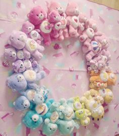 Care Bears Rainbow made of Plush Toys! Care Bears, Color Splash, Pilou Pilou, Hello Kit, Kawaii Room, Cute Toys, Little My, Pretty Pastel, Pink Aesthetic
