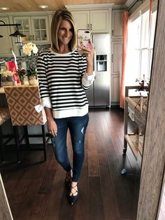 Striped sweatshirt with bows, the cutest sweatshirt on the planet! Under $60! Click on the photos for all of the links to shop!