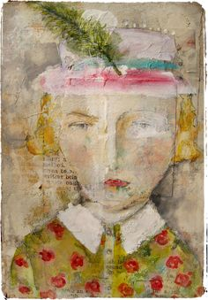 'edna rose' ~ watercolors, goauche, oil pastels, graphite and acrylic paint on collaged paper by Lynne Hoppe