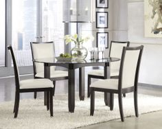 NEW DARK BROWN MODERN ROUND GLASS TABLE UPH IVORY SIDE CHAIR SET 5PC DINING ROOM