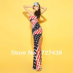 2013 New Fashion Sexy lady Vintage Stereoscopic Pad National Flag Stars and Stripes Fish Tail Full Dress Mopping #071 $28.53