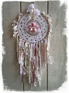 Shabby chic dream catcher from paris rags Doily Dream Catchers, Dream Catcher Mobile, Dreamcatchers, Diy And Crafts, Arts And Crafts, Medicine Wheel, Shabby Chic Crafts, Bath And Beyond Coupon, Mobiles