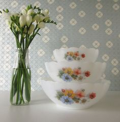 Three Vintage Milk Glass Bowls with Scallop Edge and Popoy Flower Design