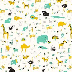 Let's Go To The Zoo in Green, Medium by Liz Ablashi for Modern Yardage