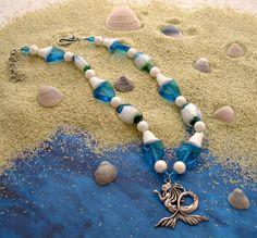 Mermaid necklace, La Sirene, Nautical jewelry, Pagan Spiritual, Blue white green, Water Goddess, Lampwork beads, Sea colors, Yoruban