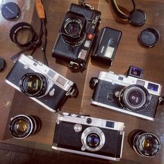 """Tokyo Saturday Night with some daily & heavy shooters- #35mm rangefinders: #LeicaM6 / #LeicaMP / #LeicaM2 / #CanonL1 and some #CanonRF  lenses.  The L1 was a junk bin find for 2000 yen- Japanese camera shop """"junk"""" sections are where the deals are at. Usually only mint stuff makes it to the glass cases- gear that's a little rough but still works fine (like this L1) can be found cheap in #Tokyo. #フィルムカメラ #ShootFilm #CameraStyle by tokyocamerastyle"""