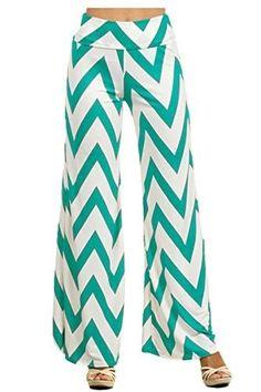 DBG Women's Palazzo Print Pants (3XL, Mint White Chevron), Size: XXXL, Green