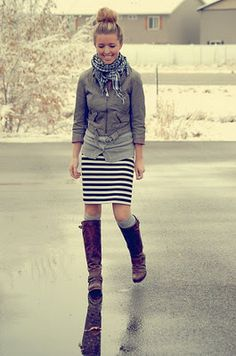 I have seen striped skirts at Tjmaxx and I usually think who in the world would wear this but I may need to buy one and wear it like this! Also I have a striped dress from old navy and gap that would totally work!