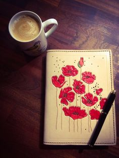 A5 Journal Cover, 'Poppies', part of my Nature Range, to cheer us all up at this chilly time of year. I just love poppies. Old Barn Leather