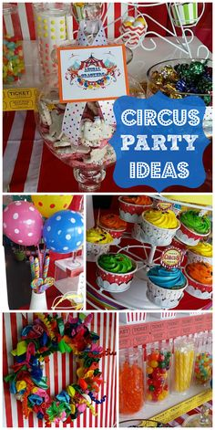 What a great Circus birthday party with a balloon wreath, cupcakes, popcorn, and carnival candy!  See more party ideas at CatchMyParty.com!