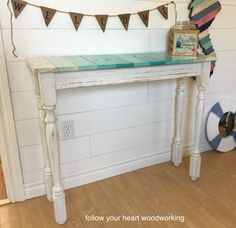 diy coastal table make from spindles. Lots of tips and tricks for building your own sofa table.
